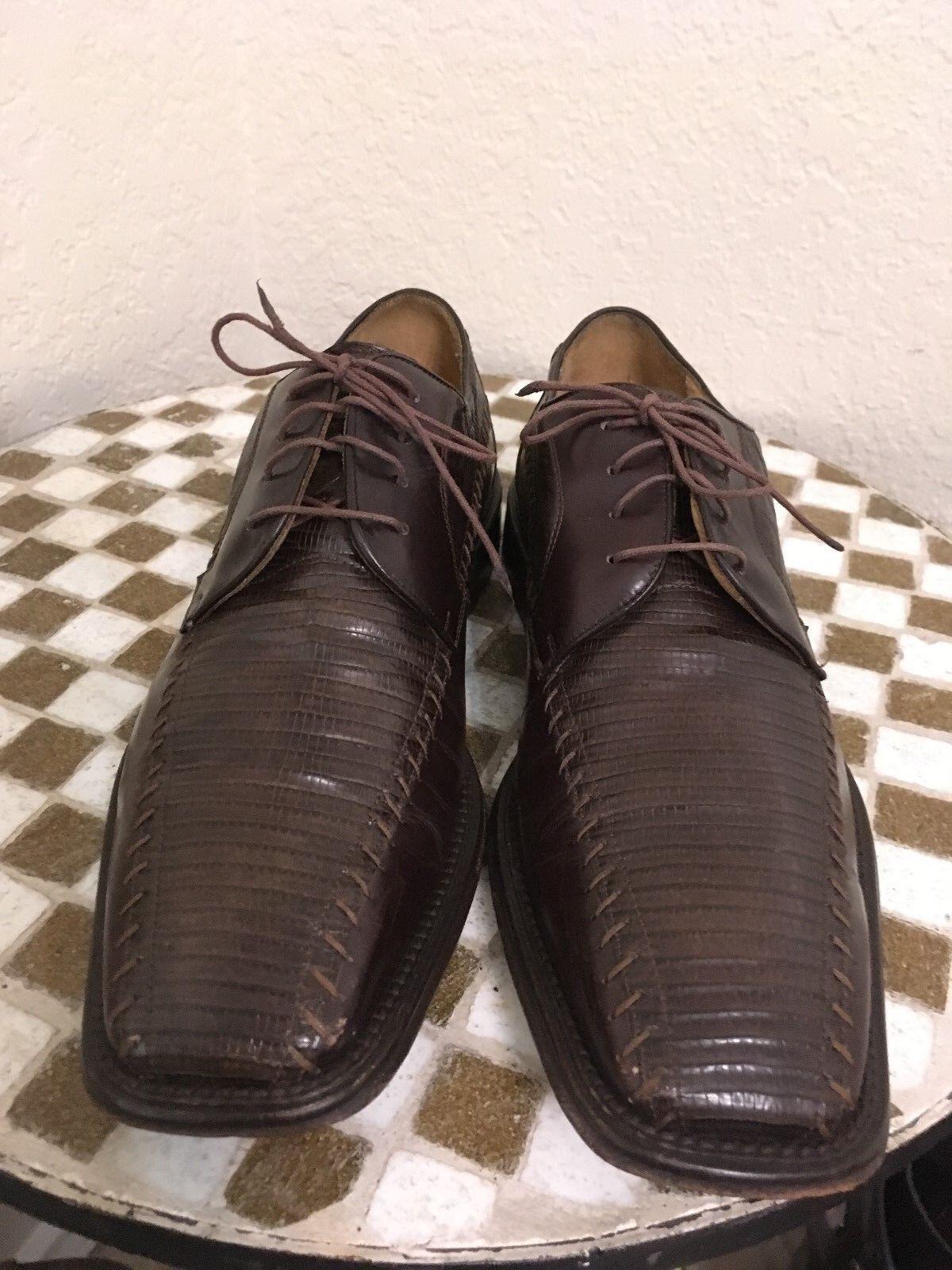 Mezlan lagarto con Cordones Marrón Zapatos Oxford del negocio 8 M