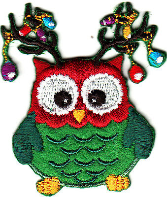 OWL w/CHRISTMAS DECORATIONS Iron On Embroidered Patch Holiday Birds