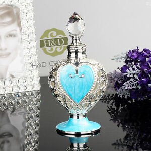 Vintage empty blue crystal cut glass metal perfume bottle How can i cut glass at home