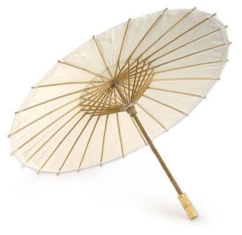 10 x Ombrello Parasole in Carta e Legno Bambu Matrimonio Bianco Wedding Offerta