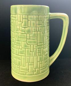 Vintage Mccoy/McP Pottery Green Geometric Mug Beer Stein MidCentury MCM