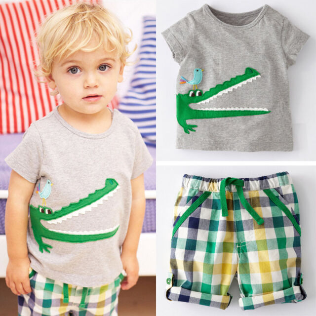 Kids Baby Boy Toddler Casual Short Sleeve T-Shirt Tops+Pants Outfit Sets Clothes