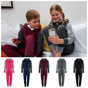 Childrens-Kids-Contrast-Pyjamas-All-In-One-PJs-Jumpsuit-New-Romper-Suit-Hoodie
