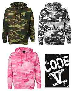 Code V Mens Camouflage Pullover Hooded Sweatshirt Camo Hoodie S-3XL 3969
