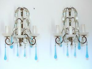 Image Is Loading Vintage Pair Sconces Beaded Murano Opaline Drops Macaroni