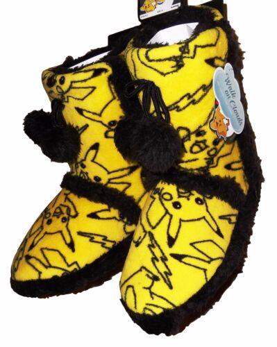 Pokemon PIKACHU Overall Print Yellow//Black Women/'s Size BOOT SLIPPERS