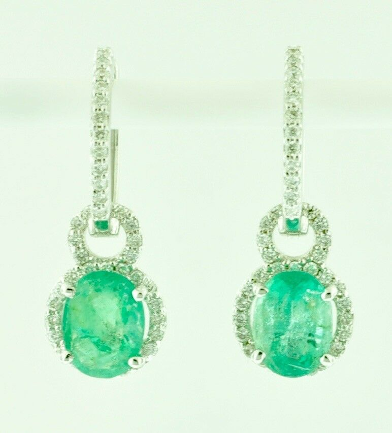 afecae223ce55 Earring Diamond Emerald Dangling gold White Solid 14K Dangle Natural ...