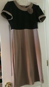 Rinascimento Brown/Black With Fabric Flower Accent Classic Dress Modest Italy XL