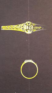 DESPRES Dessin original GOUACHE bague or initiales BIJOU JOAILLERIE ART DECO1930 GYXjZN1v-09094019-867798376