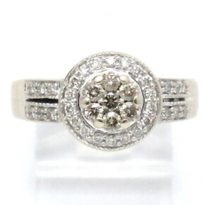 cefad524e209c 14K White Gold Champagne Diamond Engagement Ring .97ct | eBay
