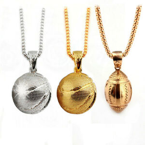 3d basketball rugby pendant necklaces sports hip hop jewelry chain image is loading 3d basketball rugby pendant necklaces sports hip hop aloadofball Image collections