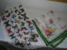 Vintage Lot of 2 Green & White w Pink Roses Yellow Flowers & Colorful Butterfly