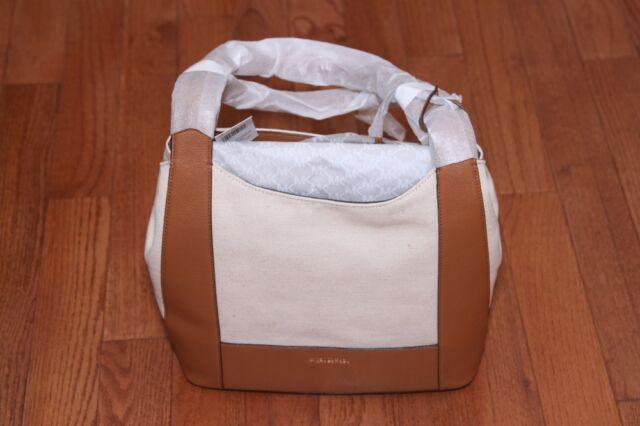1a6218505d2ba0 NWT Michael Kors Marlon Large Canvas Shoulder Tote Bag Purse Natural/Acorn