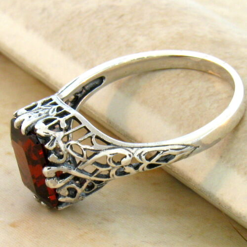 #701 2 CT GENUINE GARNET 925 STERLING SILVER ANTIQUE STYLE RING SIZE 5.75