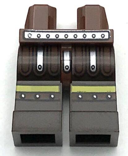 Lego New Reddish Brown Minifig Hips Dark Brown Legs Silver Belt Cingulum Pants