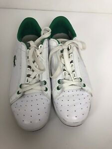 lacoste sport mens sneaker shoes white green size 8 casual
