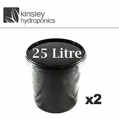 25 Litre Plastic Bucket Sealed Nutrient Mixing Smell Proof Hydroponics pot x2