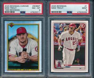 2020 Bowman & Bowman Chrome Baseball Mike Trout LOT OF 2 CARDS PSA 9 PSA8 ANGELS