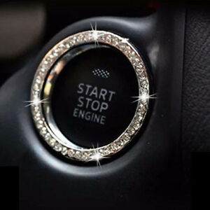 Car-Bling-Button-Start-Switch-Silver-Diamond-Rhinestone-Ring-Decor-Accessories