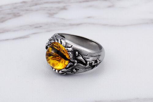Church Of Satan Eye Of Evil Satanic Yellow Stone Stainless Steel Silver Ring