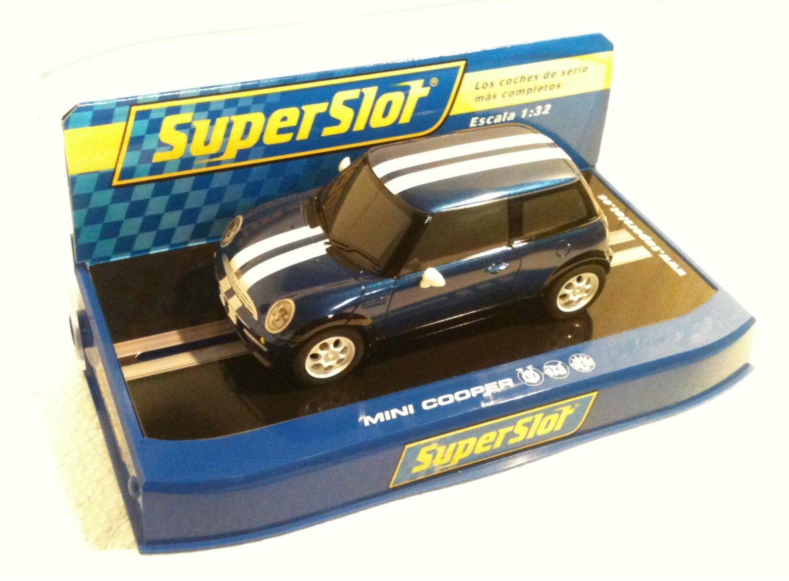 Qq H 2805 SUPERSLOT MINI COOPER ROAD CAR blueE - scalextric UK