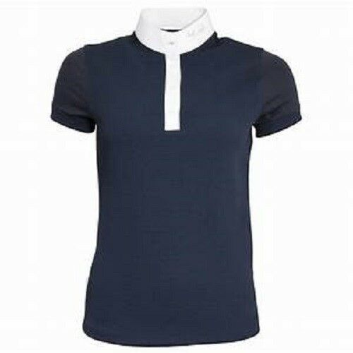 Mark Todd  Ladies Alicia Competition Polo Show Shirt Grey Navy UK Size 6 - 14  latest styles
