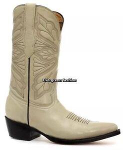 Image is loading GRINDERS-Dallas-BEIGE-ladies-Real-Leather-Cowboy-Western- 6ca7abe1a