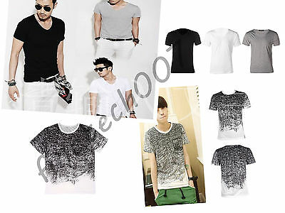 Fashion Men Slim Fit Cotton V-Neck / O-neck Short Sleeve Casual T-Shirt Tops FTS