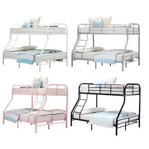 Metal-Bunk-Beds-Twin-over-Full-Size-Ladder-Kid-Teen-Dorm-Loft-Bedroom-Furniture