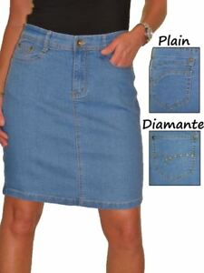 ICE-2550-Stretch-Denim-Above-Knee-Length-Jeans-Skirt-Mid-Blue-Size-8