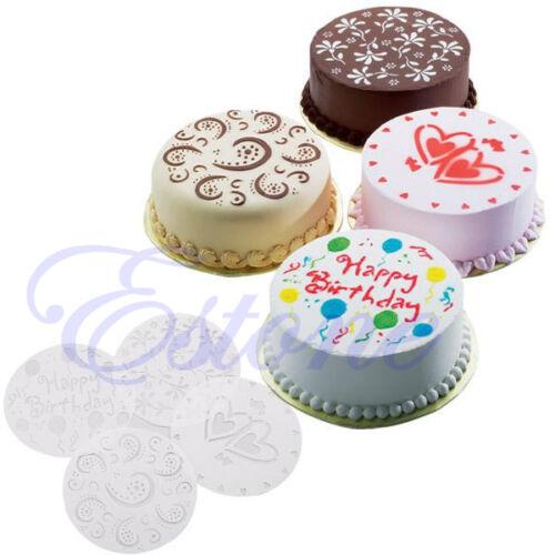 Sale Hot 4pcs DIY Round Cake Fondant Flour Sugar Cutter Flower Heart Mold Mould