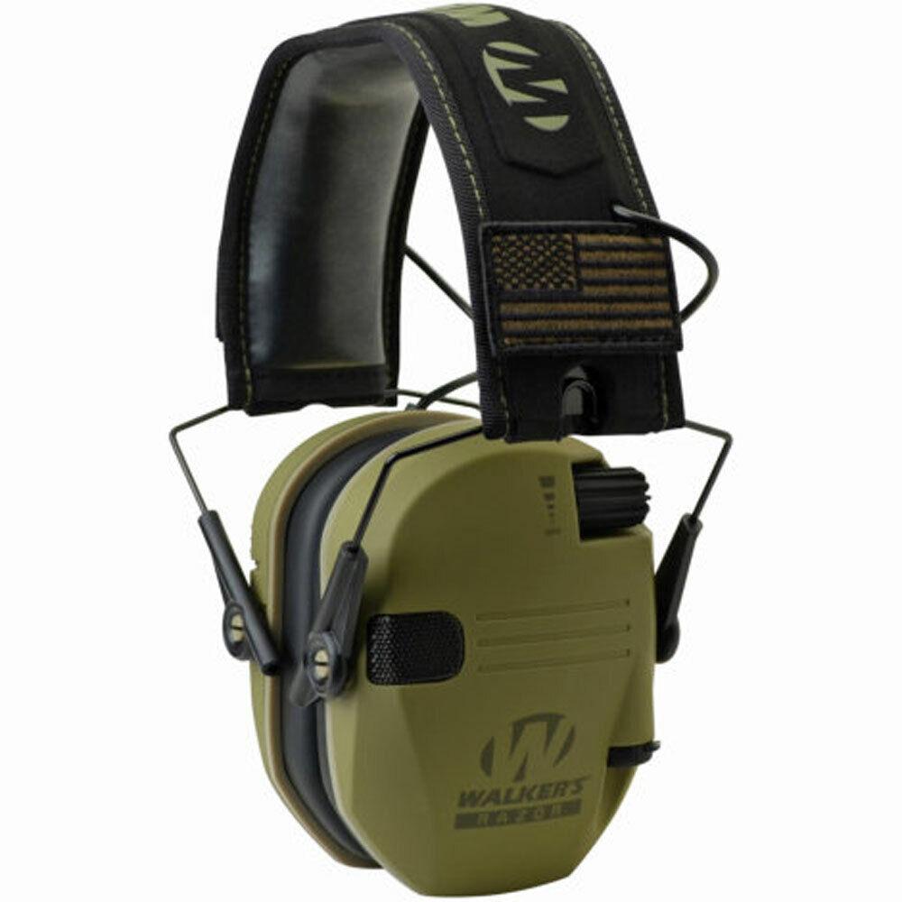 Walker's Patriot Razor Slim Shooting Ear Protection Muffs, NRR 23dB, Olive Green