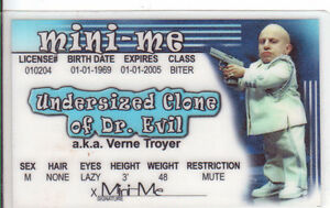 MINI ME of Austin Powers Verne Troyer pal to Mike Myers Drivers License vern