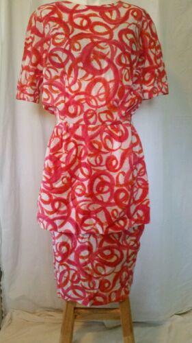 Vintage MARJORIE MONTGOMERY Silky Dress Coral prin