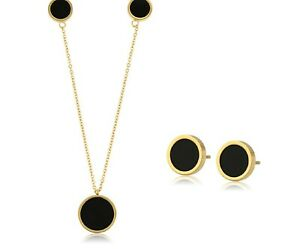 9ct Gold Filled Stud Heart  Earrings Black Clear  Gemstone  Necklace Set   B474