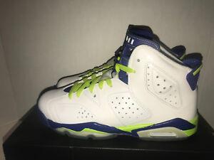 82dc4e6801a5 Nike Jordan Retro 6 Fierce Green Seahawks Grade School Size 7Y DS ...