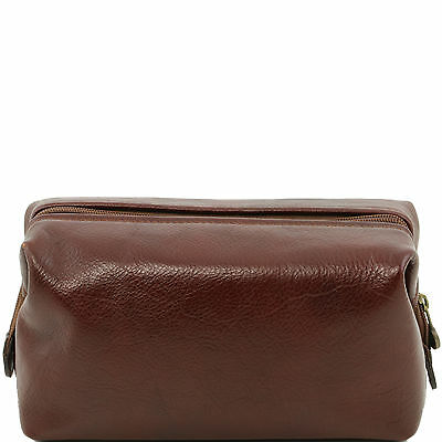 TUSCANY LEATHER beauty case with cotton lining and zip toilet bag small size