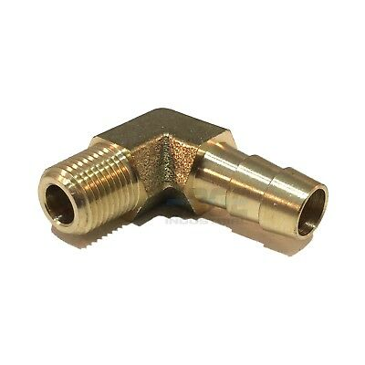 """Male Pipe Size 1//8/"""" NPT Hose ID 5//16/"""" Brass Fittings Male Hose Barb 90° Elbow"""
