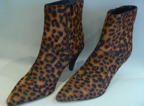M/&S Collection Leopard Print Leather Ankle Boots Insolia UK Size  7.5 RRP £75