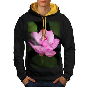 Flower gold Lotus Contrast Hood Men Photo Black New Nature Hoodie dffaOFx