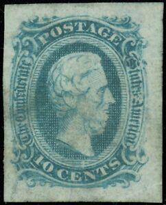 CSA Confederate States Jefferson Davis 10¢, Scott #11, Wrinkled/Crazi