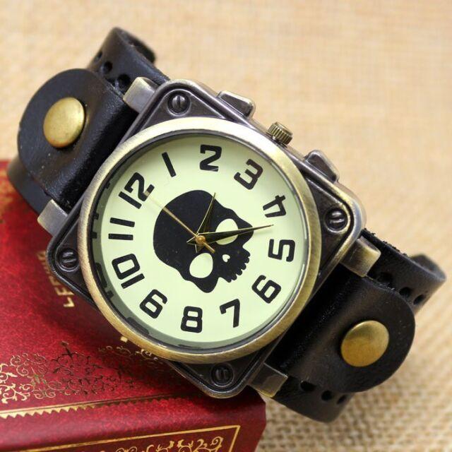 Mens Womens Retro Cool BlacK Skull Punk Leather Band Bracelet Quartz Wrist Watch