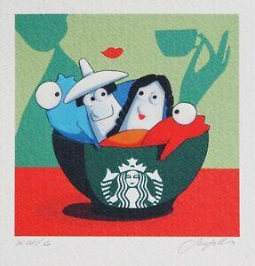 ANDREA SANGALLI SERIGRAFIA RETOUCHE' CAFFE' 900 12x12 CM OPERA ARTE DA COLLEZION