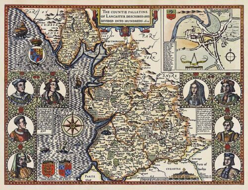 1610 Map Of Lancashire England by John Speed 15x12 Inch Reprint