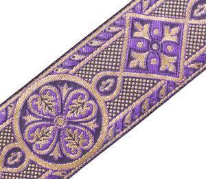 2-3-8-034-Wide-Jacquard-Trim-Medieval-Style-Purple-amp-Gold-Church-Vestment-3-Yards