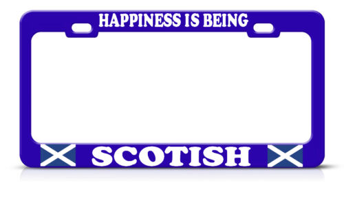 HAPPINESS IS BEING SCOTTISH Heavy Steel BLUE License Plate Frame Tag Border