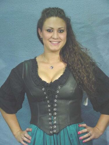BUTW Black Leather fitted lace up bodice sz 20 /_ 1669B