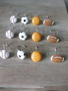 Details About Sports Resin Shower Curtain Hooks Set Of 12 Basketball Football Soccer Baseball
