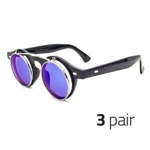 f1fd7a7054b Details about 3 Pair Cool Flip Up Lens Steampunk Vintage Retro Round  Sunglasses Ocean Blue u