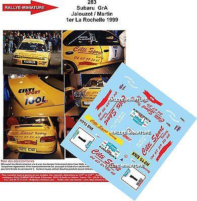 Decalcomanie 1/43 Rif. 0283 Subaru Impreza Wrx Jalouzot Rally La Rochelle 1999 Circolazione Del Sangue Tonificante E Arresto Del Dolore